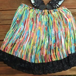 Dresses & Skirts - Colorful striped skirt with black lace